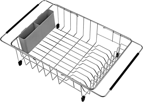 Dish Drainer,Dish Rack Dish in SANNO Over The Sink Expandable Dish Drying Rack