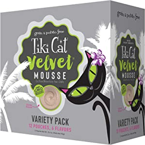 Tiki Cat Velvet Mousse Grain-Free Wet Food with a Silky-Smooth Texture for Adult Cats & Kittens, 2.8oz, 12pk, Variety
