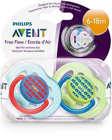 Philips AVENT BPA Free Fashion Pacifier, 6-18 Months, 2 Pack (Colors and designs may vary)