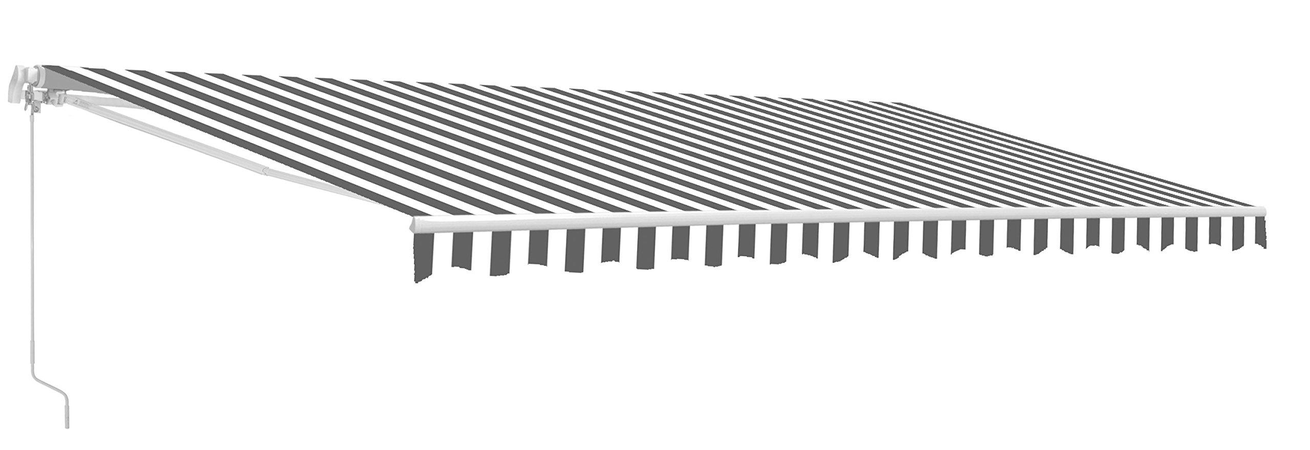 ALEKO AW13X10GREYWHT Retractable Patio Awning 13 x 10 Feet Gray and White Striped