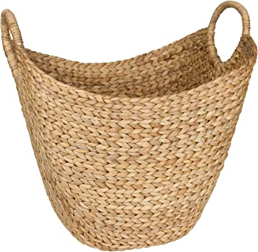 Seagrass Storage Basket by West Dwelling - Large Water Hyacinth Wicker Basket / Rattan Woven Basket with Handles - Storage Baskets for Blankets