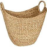 Seagrass Storage Basket by West Dwelling - Large Water Hyacinth Wicker Basket / Rattan Woven Basket with Handles - Storage Ba