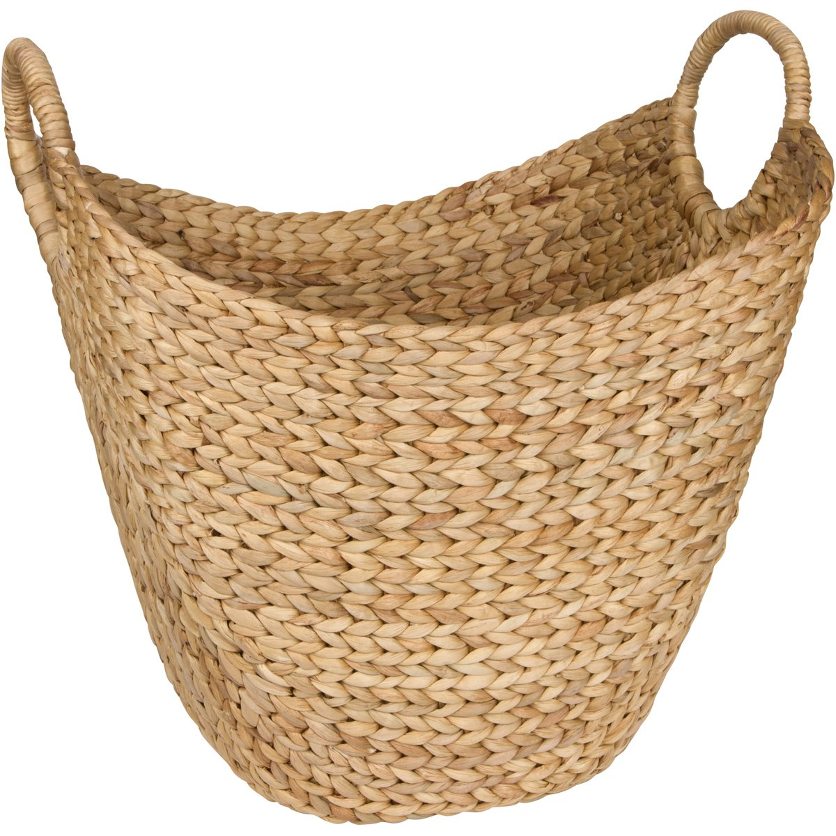 Large Woven Seagrass Storage Basket – Wicker Pattern Baskets With Braided Handles As Organizer For Blankets, Towels, Pillows, Toys, Laundry, Baby, Kids, Home Decor - Natural Water Hyacinth Chesed Products