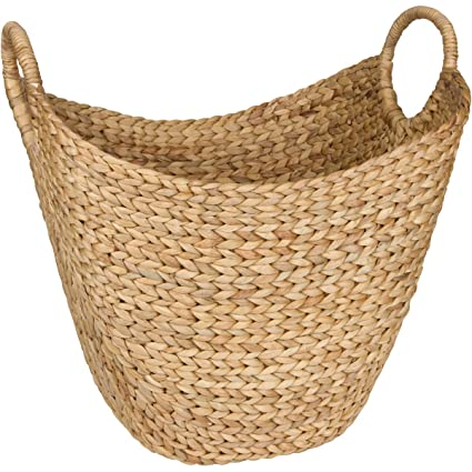 Large Woven Seagrass Storage Basket   Wicker Pattern Baskets With Braided  Handles As Organizer For Blankets