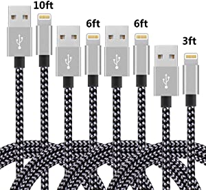 4Pack(3ft 6ft 6ft 10ft) iPhone Lightning Cable Apple Certified Braided Nylon Fast Charger Cable Compatible iPhone Max XS XR 8 Plus 7 Plus 6s 5s 5c Air iPad Mini iPod (Black+Gray)