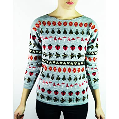 36708dfd83be5 Sweater Shop Womens Ladies Scoop Neck Ladybird Sweater Knitwear (British  Made) (Small) (Silver Mix)  Amazon.co.uk  Clothing