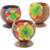 Coconut Cup with Flowers - Set of 12 - made with natural coconuts - Luau and Tiki Party Supplies