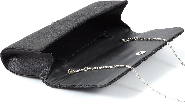 Anladia Luxus Spitze Damen Clutch Abendtasche Damentasche Handtasche Brauttasche mit Kette