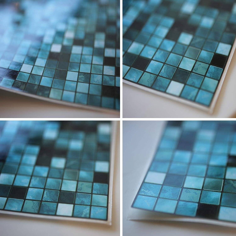 24 Azul PEGATINAS lisas para pegar sobre azulejos cuadrados de 15cm en cocina ba/ños Directamente de TILE STYLE DECALS sin intermediarios resistentes al agua y aceite