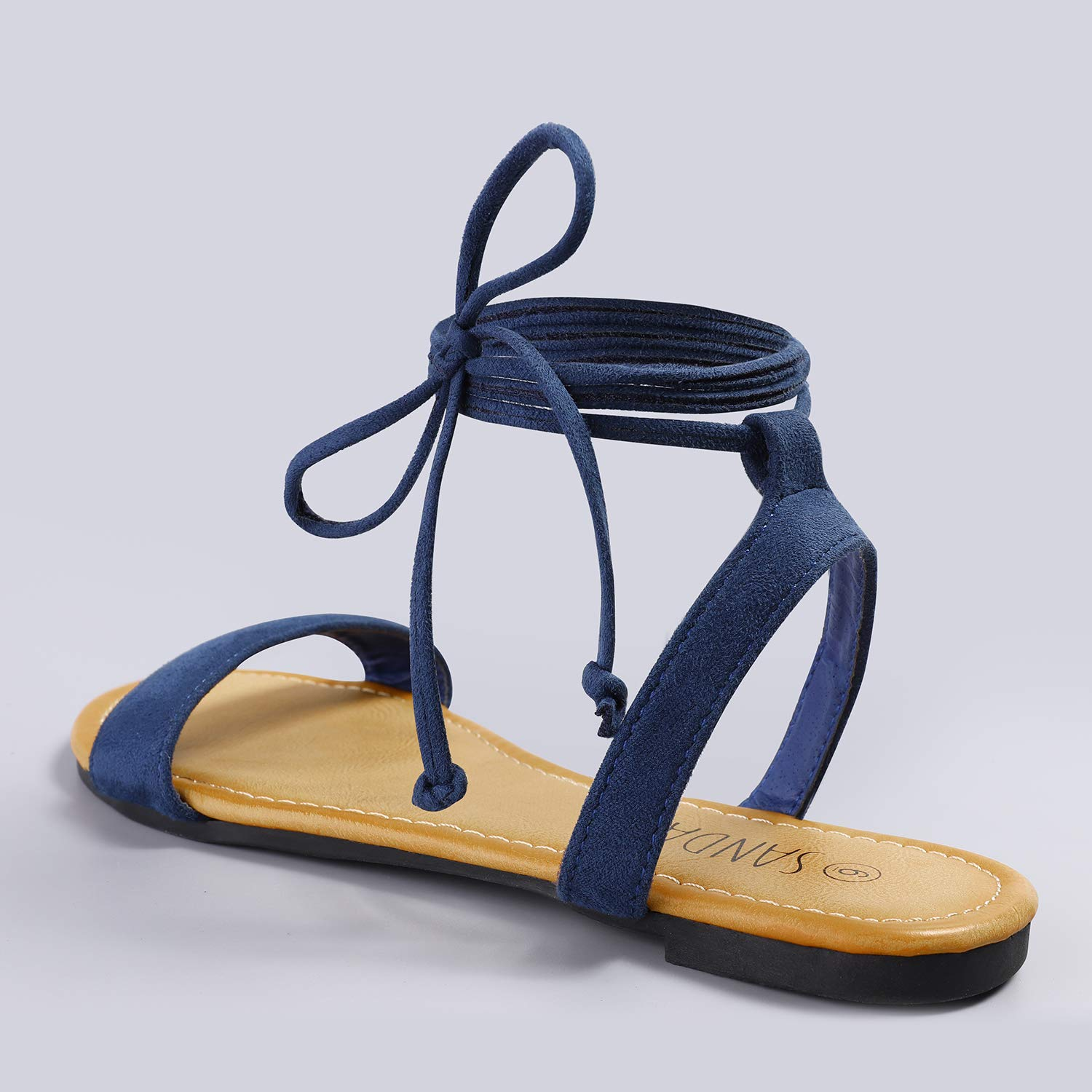 692680e76 SANDALUP Tie Up Ankle Strap Flat Sandals for Women  1541004952 ...