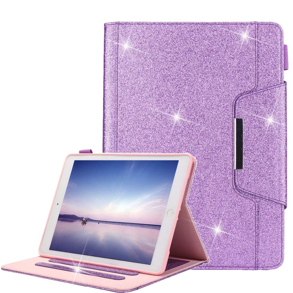 A-BEAUTY iPad 9.7 2018 Funda, Glitter Bling para Cuero TPU Interior [Cierre Magnético] Carcasa para Billetera y Auto Sueño/Estela Para Apple iPad 9.7 2018/2017/Pro 9.7/Air 2/Air, Brillante Oro Rosa A-LY-sanfen-01