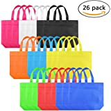 """Tote Gift Bag Set of 26 10.2"""" Multiply 12.6"""" Rainbow Assorted Color Non Woven Polyester Bags with Handles for Party Favors"""