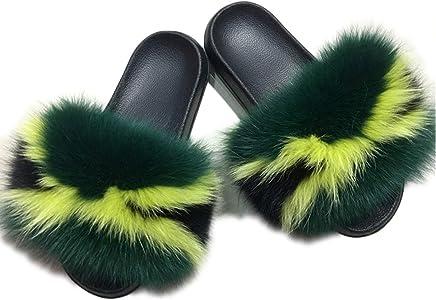HONGTEYA Real Fox Fur Slides Sandals for Women 20 Styles Toddler Girls Feather Slip On Summer Furry Slippers Flip Flops Shoes Flats/