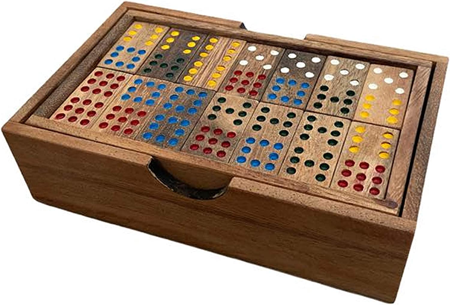 Wooden Dominoes Premium Set of 56 Handmade Rain Tree Wood Portable and Manageable Gift