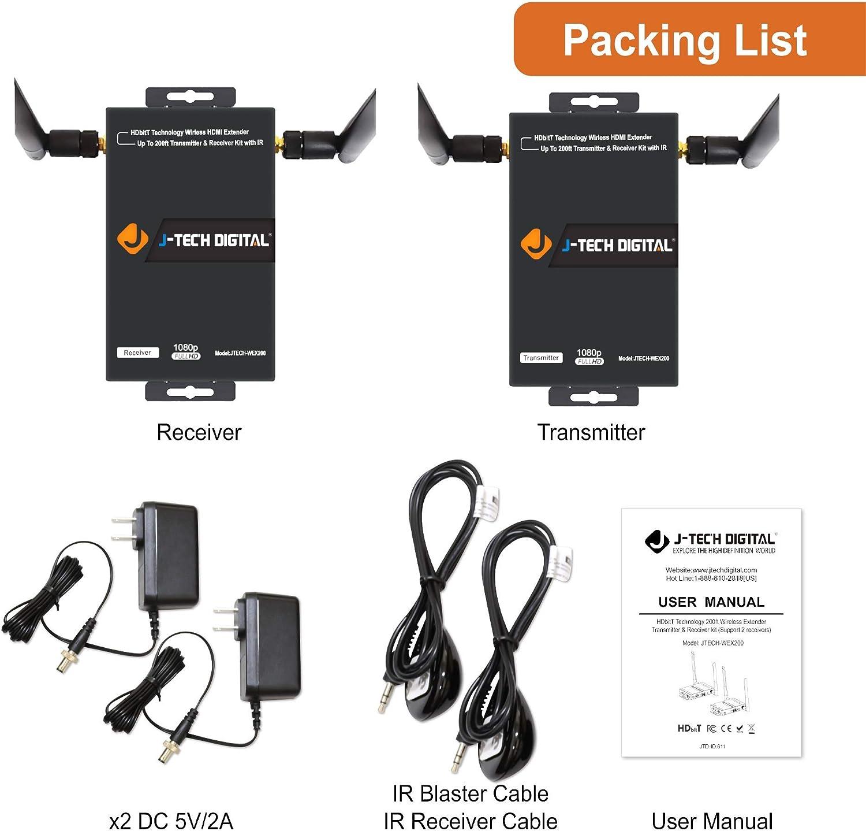 J-Tech Digital HDbitT Series 1X2 Wireless HDMI Extender 200' Dual Antenna Supporting Full HD 1080p with HDMI Loop Output IR Passthrough [JTECH-WEX200]: Electronics