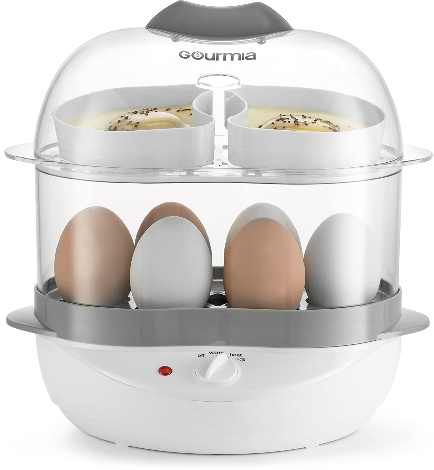 Gourmia GEC275 2 Layer Electric Egg Cooker – Soft, Medium, or Hard Boil – Poacher Steamer Trays – 6 Egg Capacity – Steaming Shelf for Bread and Vegetables – Automatic Shut Off – 400W