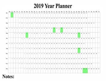 1 x 2019 maxi wall calendar poster staff holiday chart plan wall project planner