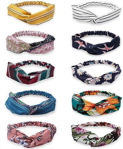HBselect 10 Confezioni Fascia Capelli Donna Stampato Fiore Accessori per Capelli Fascia Capelli Vintage in Stile Coreano Foulard Capelli