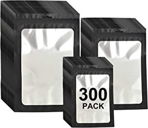 300 Pack 3 Sizes Resealable Mylar Bags Ziplock Food Storage Smell Proof Bags with Front Window Packaging Pouch for Sample Snack Cookies Jewelry (Black, 3 x 4.7 inch,4 x 6 inch,4.7 x 7.9 inch)