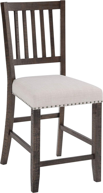 Jofran Inc. Willow Creek Slatback Upholstered (Set of 2) Counter Barstool, Cream Fabric and Brown Legs