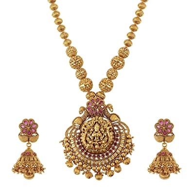 a48dbbfdb23 Buy MUCH MORE Charm Gold Tone Temple Jewellery Laxmi MATA Necklace Set  Indian Traditional Jewellery Online at Low Prices in India