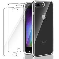 Funda iPhone 7 Plus / iPhone 8 Plus + 2 x Cristal Protector de pantalla ,ivencase Kit de Protección Completa Estuche protector [Carcasa de TPU Transparente] + [Protector de pantalla de vidrio templado] para iPhone 7 Plus / iPhone 8 Plus