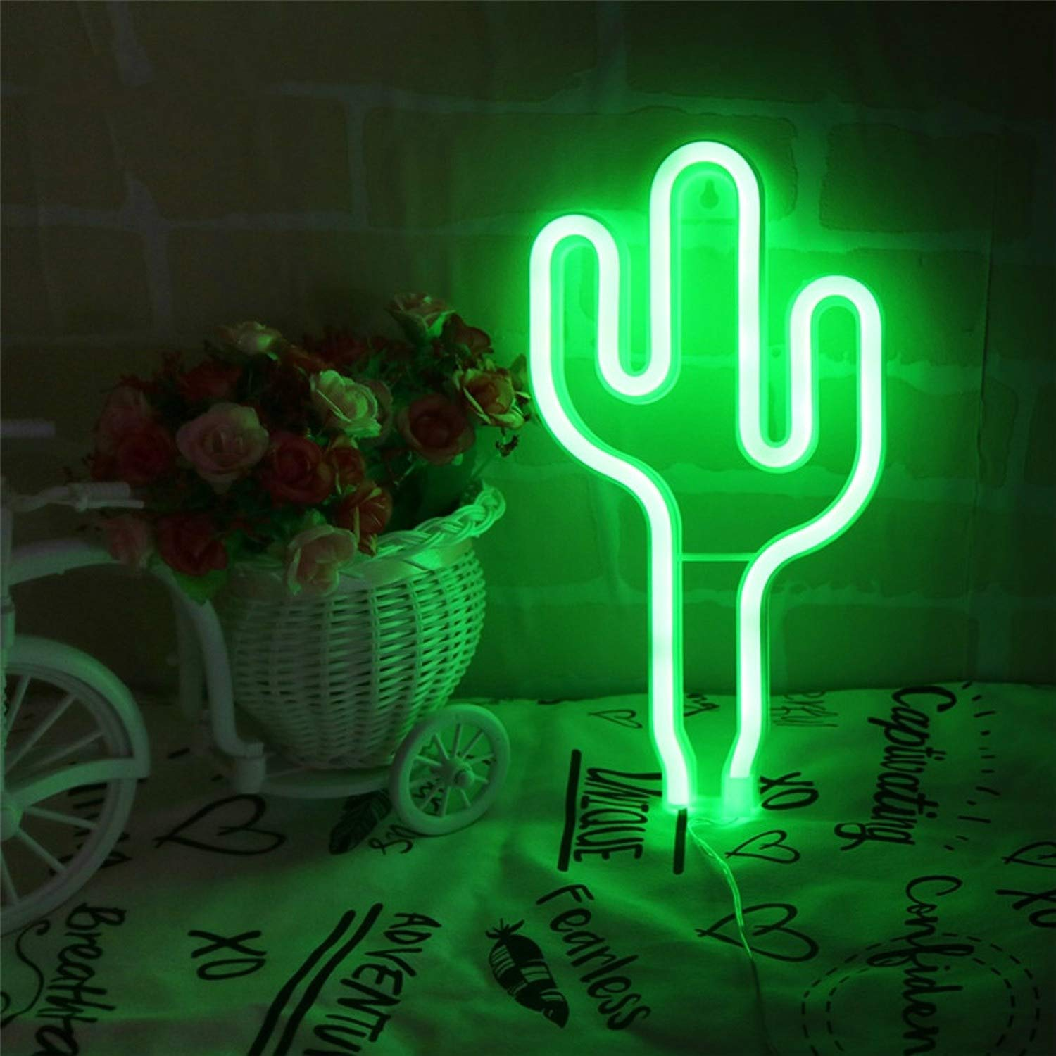 Neon Signs LED Neon Light Night Lamp House Decoration Room Lighting Kids Present Children Christmas Gift Party Cactus Green