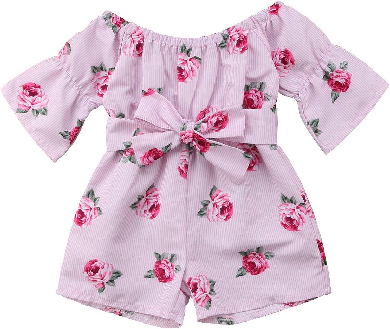 AmzBarley Toddler Baby Girls Romper Sunflower Print Lace Trim Backless Summer Bodysuit Shorts Jumpsuit