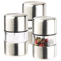 PEARL Salzstreuer: Mini-Salz-/Pfeffermühle, Edelstahl, Keramikmahlwerk, 3er-Set (Salzmühlen)
