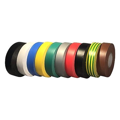 50 mm x 33 m 2 rollos de gran resistencia GTSE 2 rollos de cinta aislante de PVC de color negro paquete a granel de 2 rollos