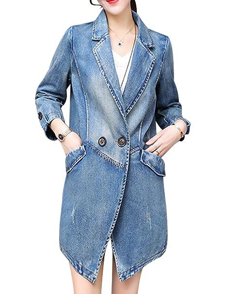 Amazon.com: tanming traje de chaquetas de mezclilla solapa ...
