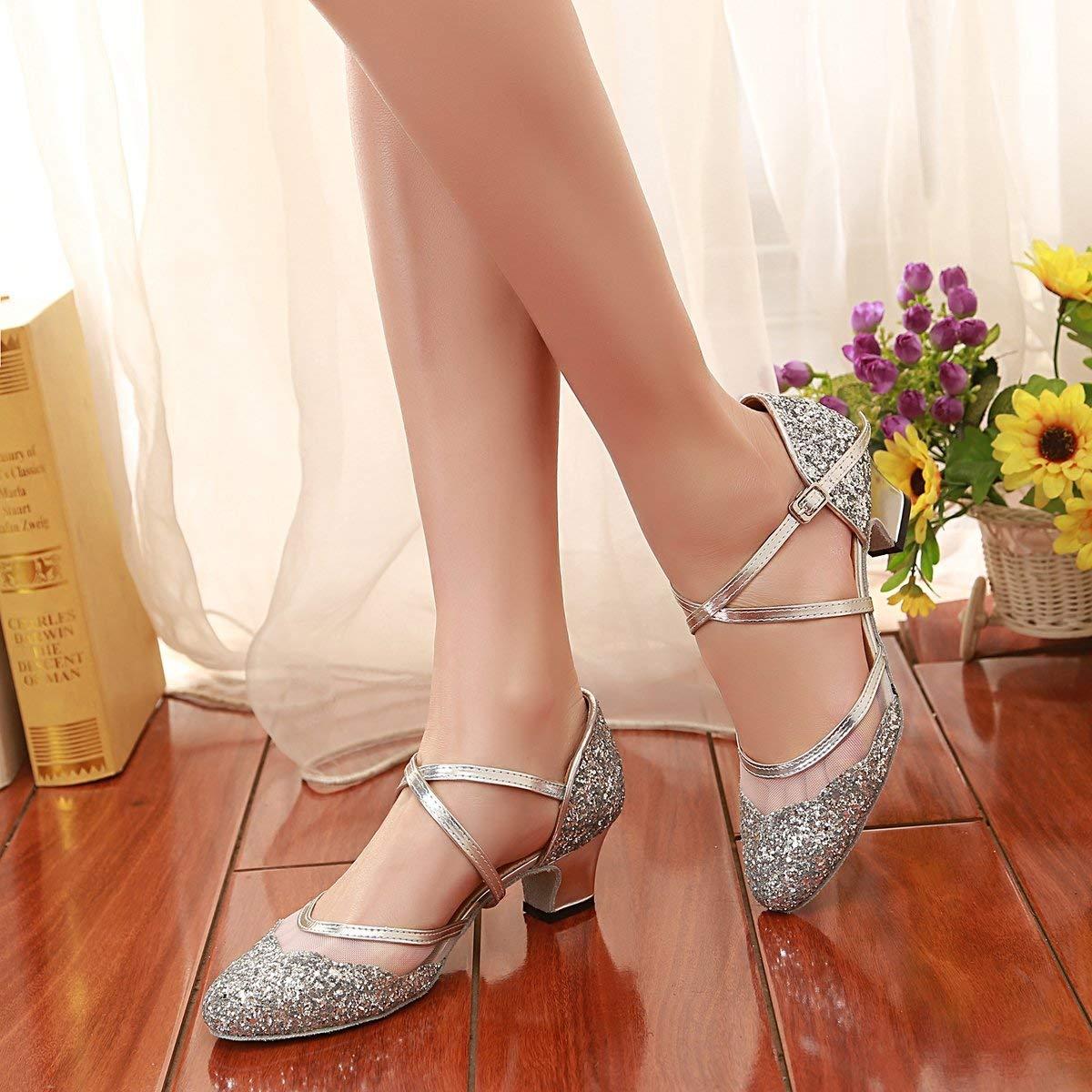Qiusa Frauen Frauen Frauen Geschlossene Zehe Silber Glitter Latin Dance Schuhe Hochzeit Pumps UK 7 (Farbe   -, Größe   -) 5ed6a3