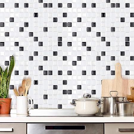BLACK MOSAIC SELF ADHESIVE VINYL FLOOR TILES Kitchen Bathroom Lino Square Stick