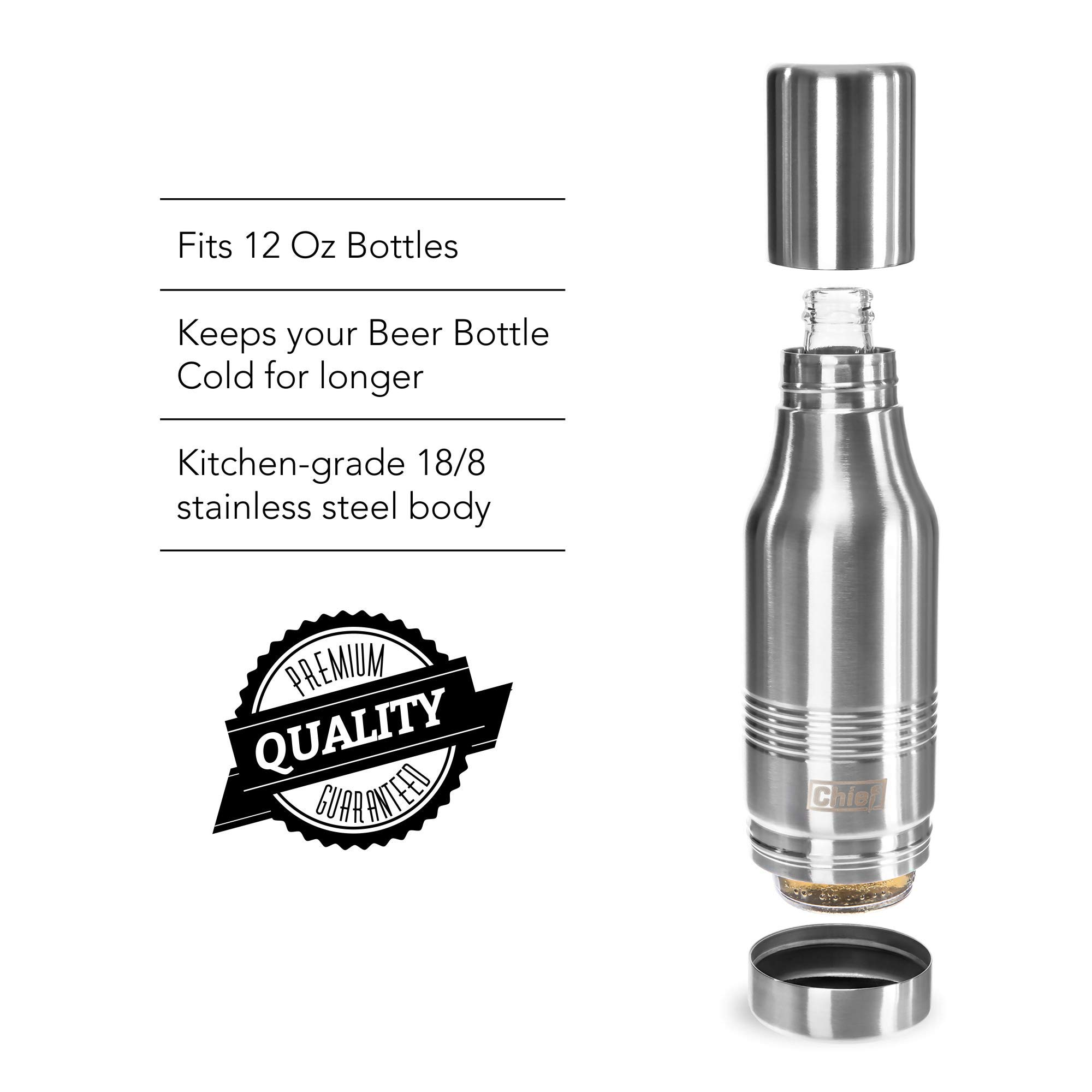 Beer Bottle Cooler- Double Wall Stainless Steel Beer Bottle Insulator. Great Gift ! BONUS e-Book and Gift Packaging. by Chief (Image #8)