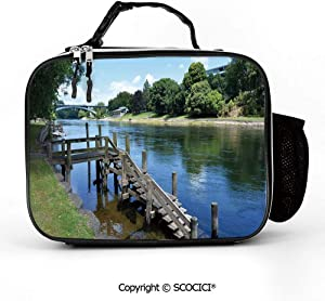 AmaUncle Detachable Leather Lunch Bag with Pocket Waikato River Hamilton City New Zealand Holiday Destination Travel Meal Lunch Box for Women Men Adults College Work Picnic Hiking Beach Fishing
