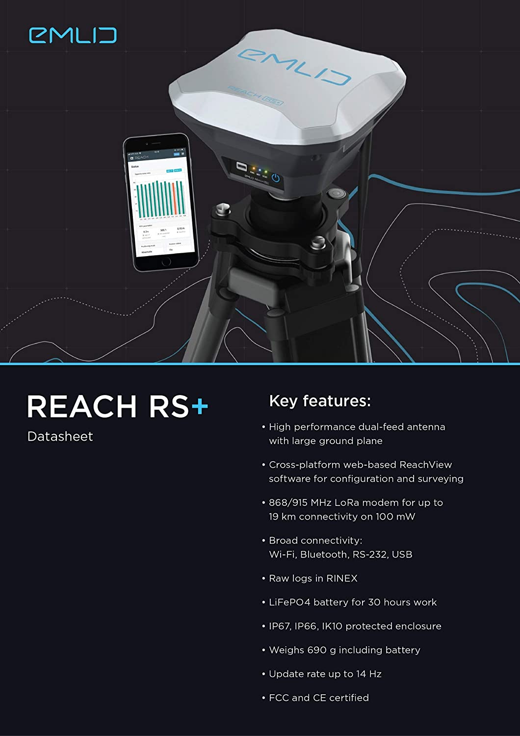 Reach RS+ RTK GNSS Receiver with an App as a Controller