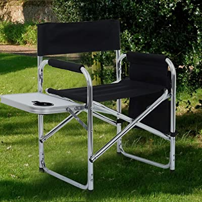 Lanyun Camping Stools Fold Up Lightweight Portable, Big Director Chair Heavy Duty Frame Collapsible Recliner with Side Table Folding Oversize Padded Seat and Pockets Patio Barbeques Outdoor Chair : Garden & Outdoor