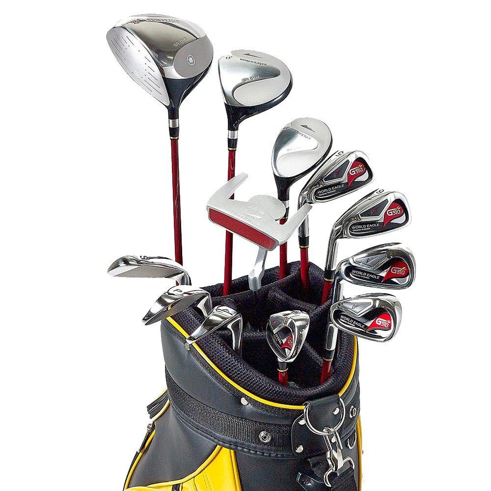 WORLD GOLF(ワールドゴルフ) ワールドイーグル WE 510 メンズクラブセット【左用-R】+【ブラック/サンオレンジ】WE CBX007 カートバック  510MLH-R+cbx007