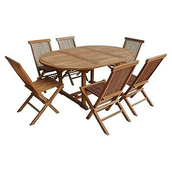 Salon de Jardin Lombok - Table Extensible Ronde en Teck - 6 ...