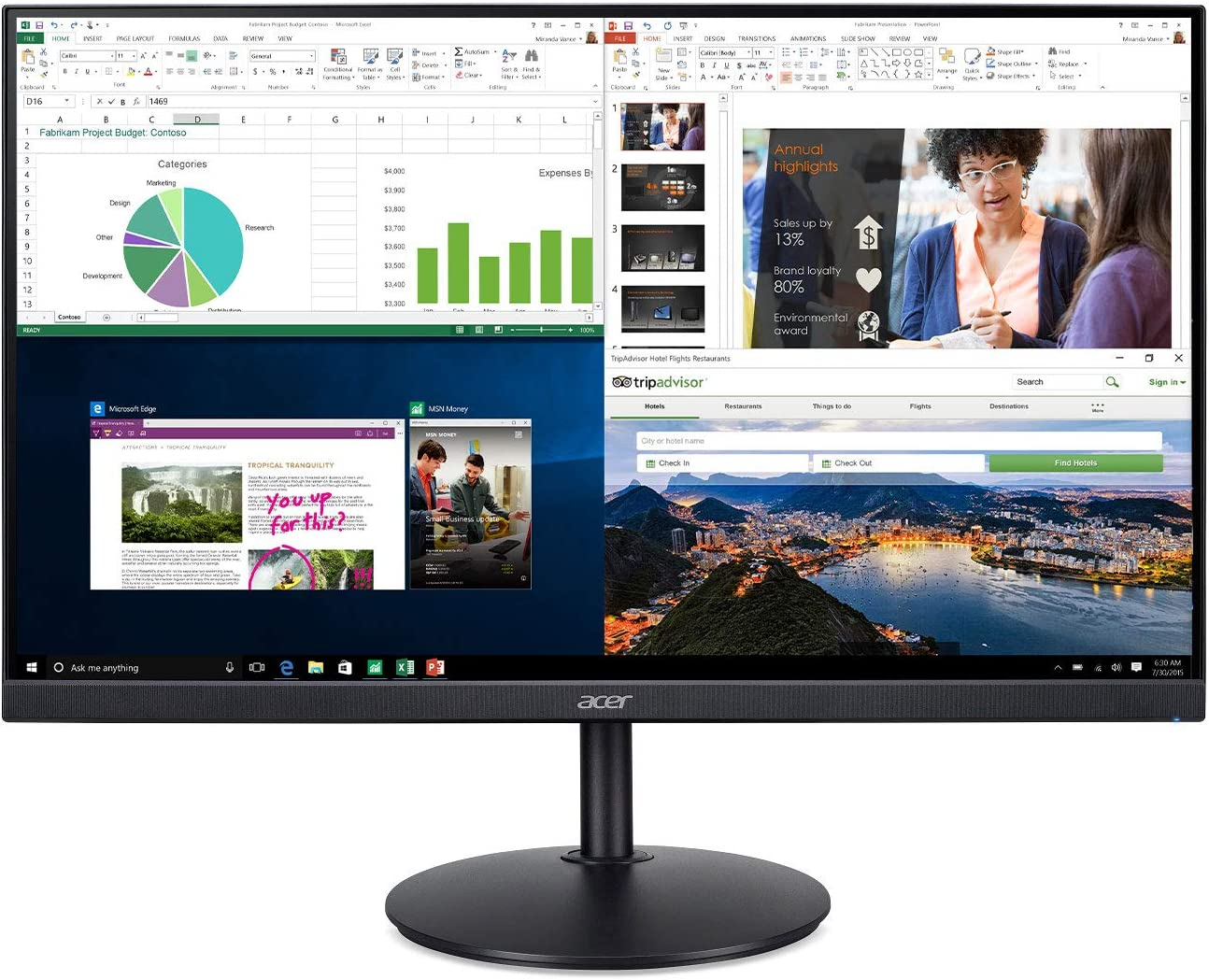 "Acer CB242Y bir 23.8"" Full HD (1920 x 1080) IPS Zero Frame Home Office Monitor with AMD Radeon FreeSync - 1ms VRB, 75Hz Refresh, Height Adjustable Stand with Tilt & Pivot (HDMI & VGA ports),Black"