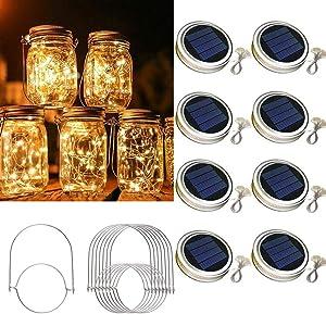Solar Mason Jar Lid String Lights 8 Pack 30 Led String Fairy Star Firefly Jar Lids Lights Solar Lanterns with 8 Hangers (Jars Not Included) for Garden Patio Wedding Lantern Decorations,Warm White