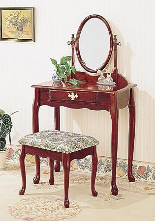Fantastic Cherry Finish Vanity Set W Stool By Coaster Furniture Dailytribune Chair Design For Home Dailytribuneorg
