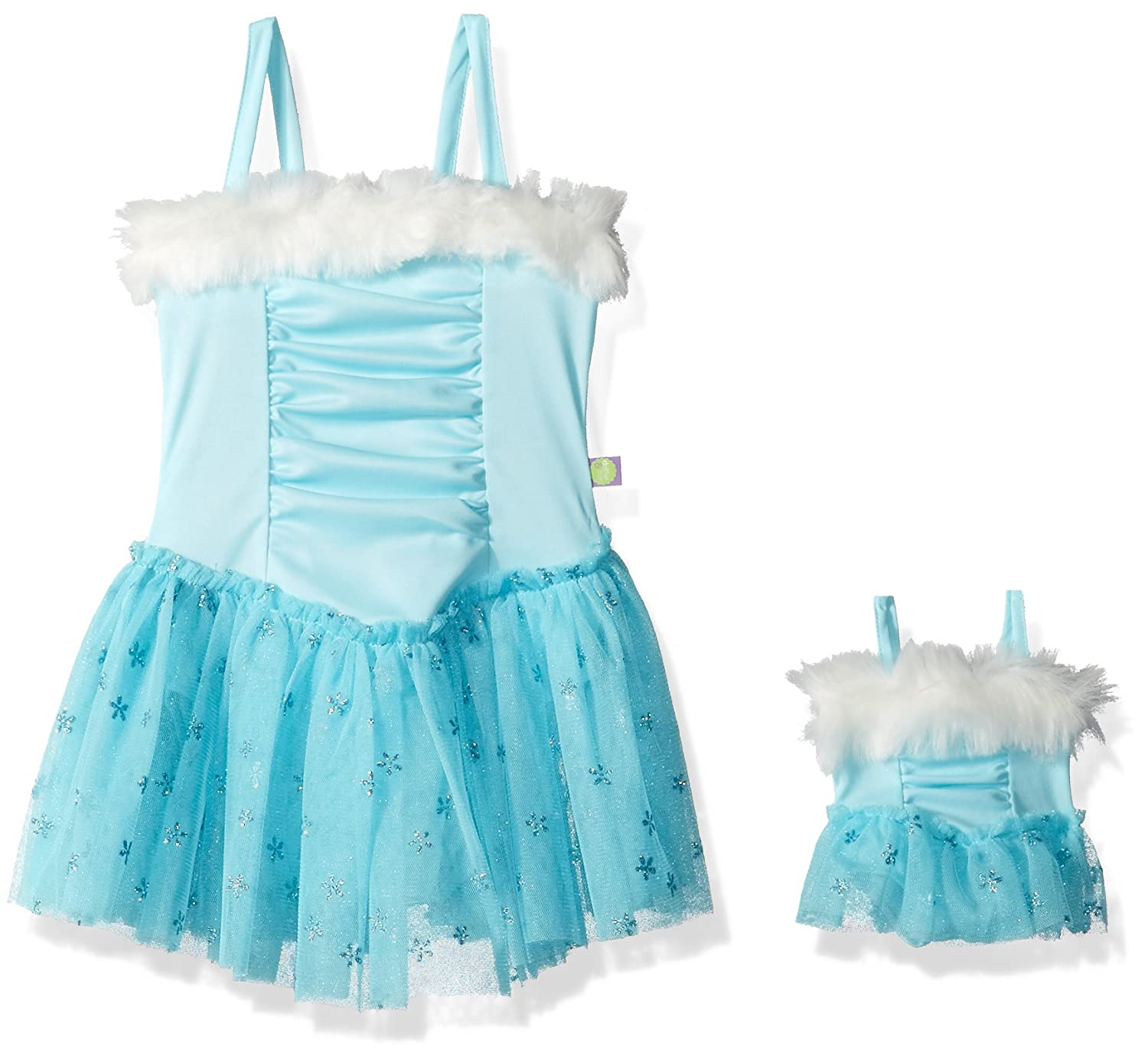Dollie & Me Girls' Faux Fur Skirted Leotard & Matching Doll Outfit 3165908
