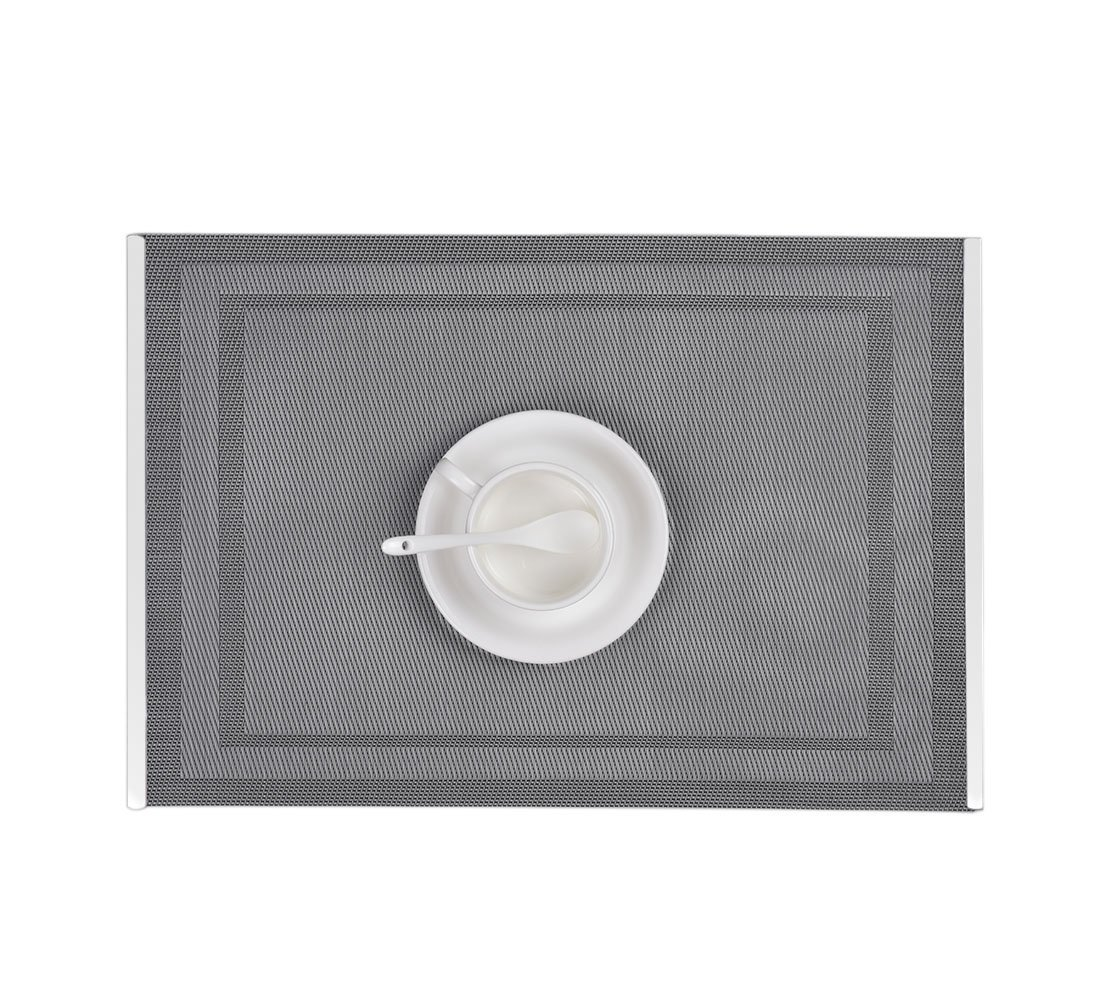 Table Mats with Stainless Steel Edge Cover Both Sides (Set of 6), EgoEra Place Mats Sets Table Place Dinner Mats Washable Plastic Vinyl Table Mats for Dining / Kitchen Table, 4530cm, Gray