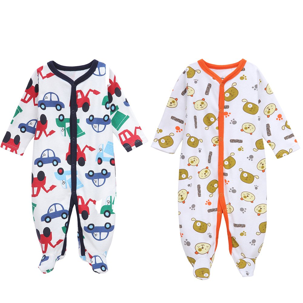 Mothernest Baby Boys' Footed Pajamas Sleeper Long Sleeve for Snap Sleep Play