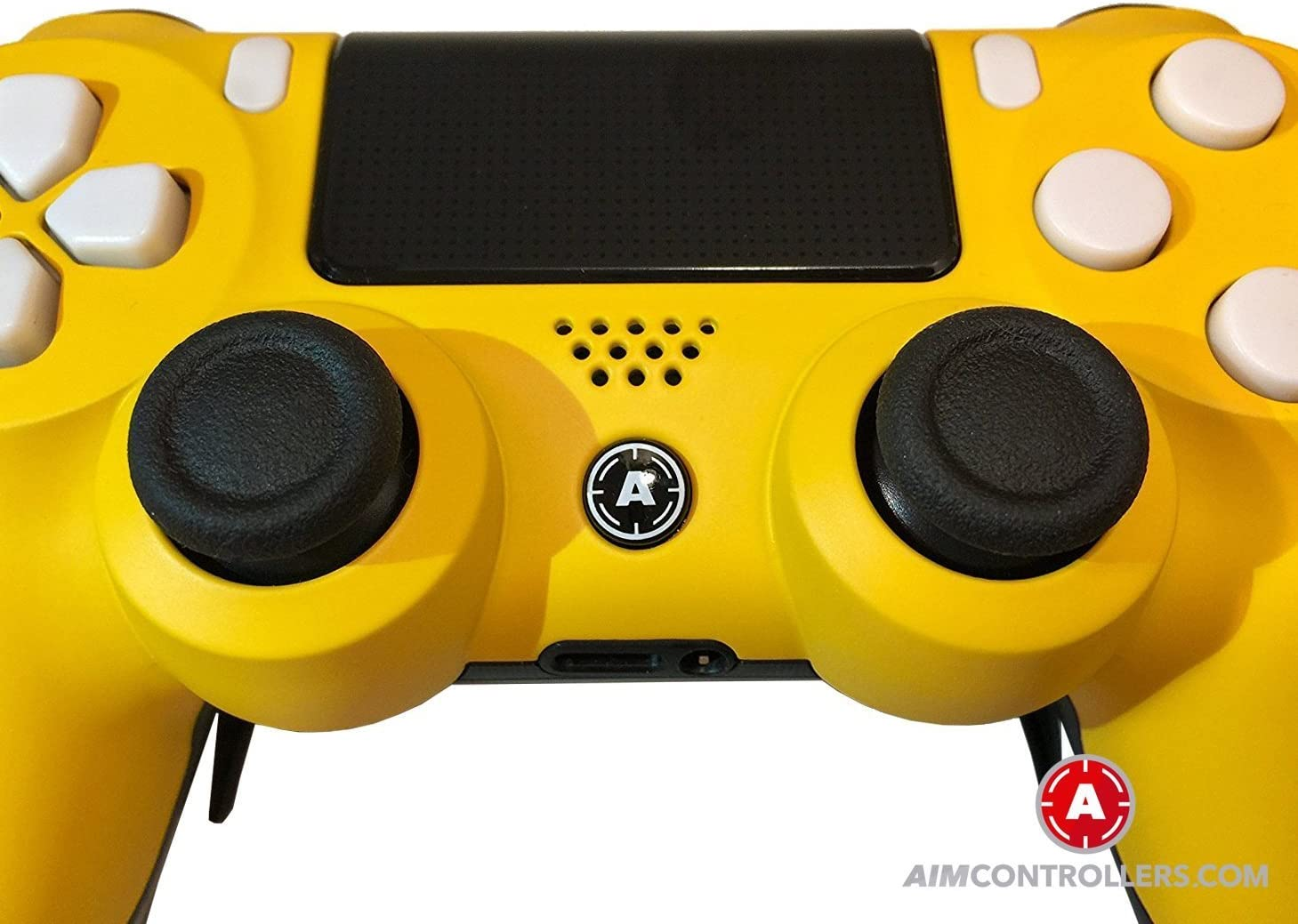 PS4 Slim DualShock 4 PlayStation 4 Wireless Controller - Custom AimController Yellow Matt Design with Paddles. Left X, Right O: Amazon.es: Videojuegos