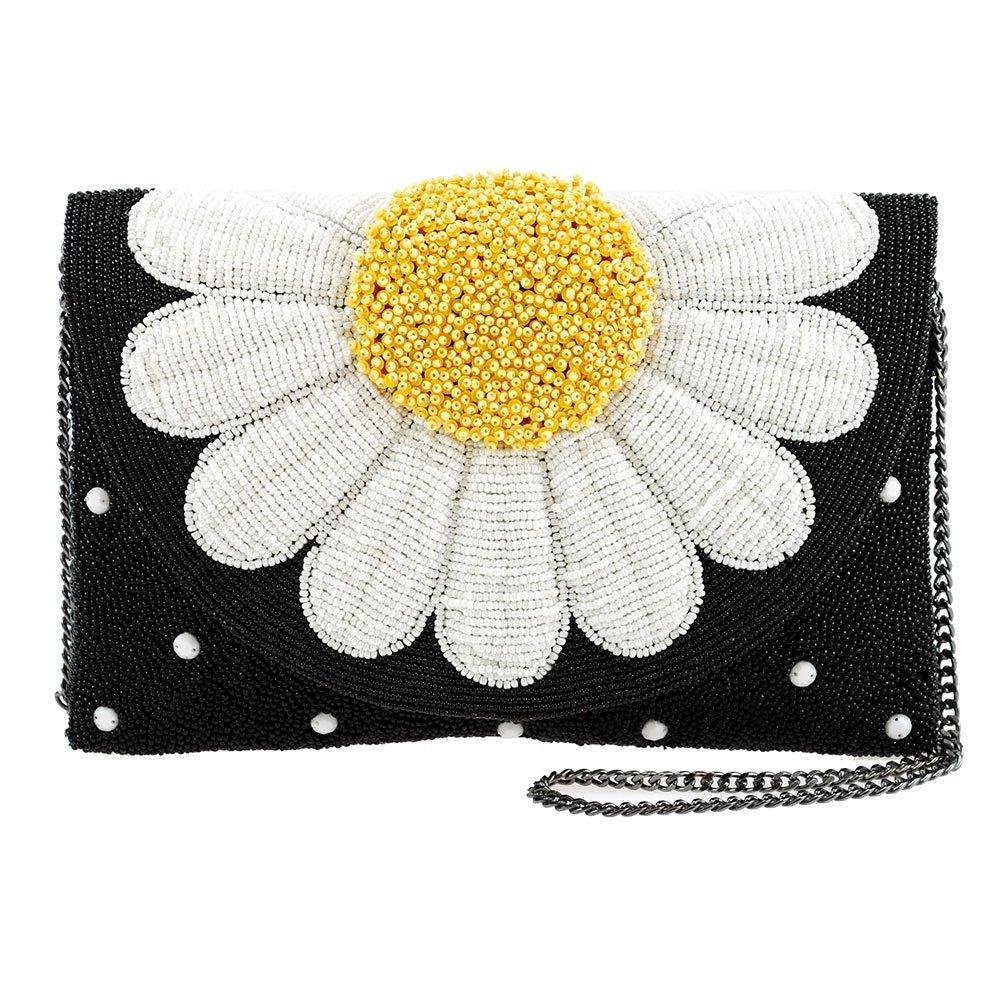 MARY FRANCES Oopsy Daisy Beaded Flower Crossbody Clutch Handbag
