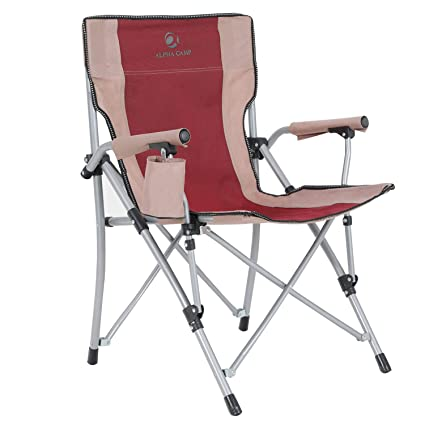 Incroyable ALPHA CAMP Heavy Duty Folding Camping Hard Arm Chair Quad Camp Chairs  Support 300lbs With Carry