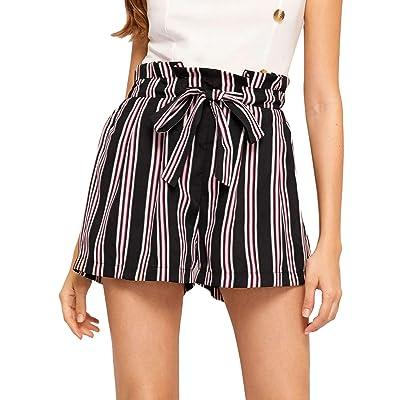 Floerns Women's Elastic High Waist Summer Beach Striped Shorts at Women's Clothing store