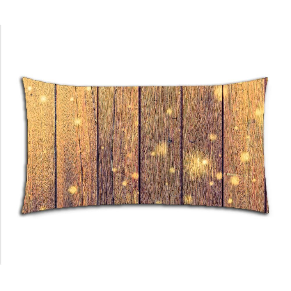 Custom Solid Wood Floor Cotton Polyester Pillowcase Pillow Cover With Zipper King Size 20x36 (Twin Sides)